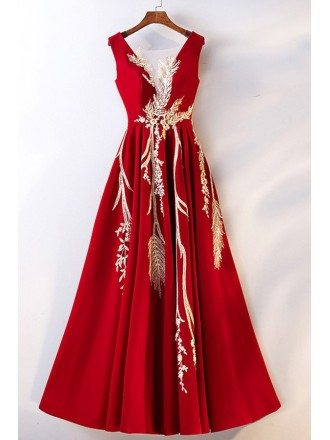 Unique Long Red With Gold Embroidery Formal Dress Sleeveless