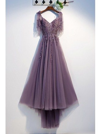 Purple Long Tulle Prom Dress With Puffy Sleeves
