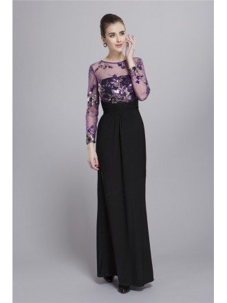 Elegant A-Line Chiffon Embroidered Mother of the Bride Dress With Long Sleeves