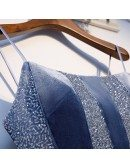 Dusty Blue Aline Long Tulle Prom Party Dress With Spaghetti Straps