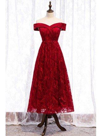 Off Shoulder Tea Length Burgundy Party Dress With Unique Lace