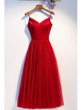 Simple Red Tulle Tea Length Party Dress With Straps