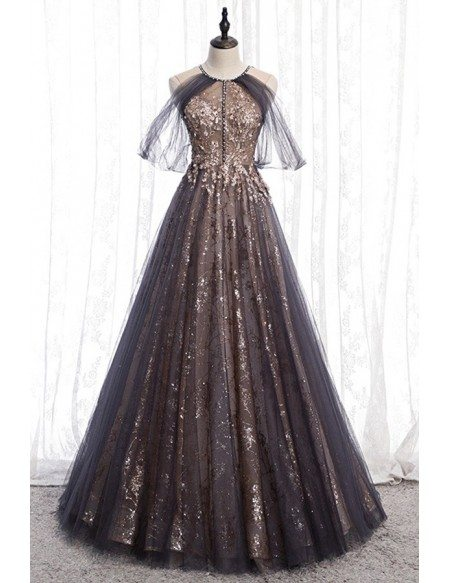 Unique Black Sparkly Tulle Aline Prom Dress With Tulle Sleeves