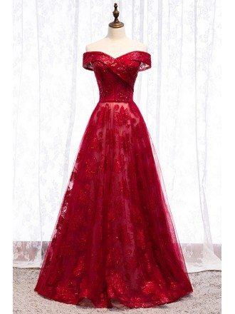 Off Shoulder Burgundy Long Formal Dress With Sequins Tulle