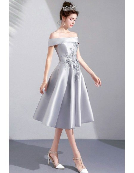 Silver Satin Knee Length Cute Party Dress Off Shoulder With Embroidery