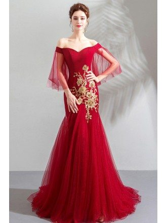 Burgundy Fitted Mermaid Long Tulle Formal Dress Off Shoulder With Embroidery
