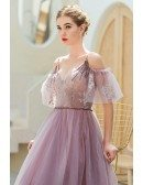 Gorgeous Purple Vneck Long Tulle Prom Dress With Straps Cold Shoulder