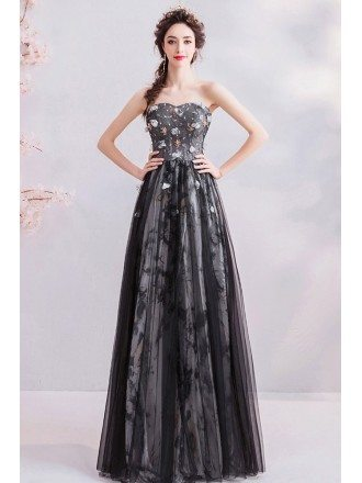 Mistery Black Cloud Pattern Long Prom Dress Aline With Sweetheart