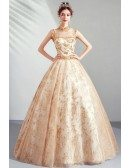 Luxury Gold Sparkly Big Ballgown Formal Prom Dress Pageant With Collar