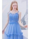 Blue Long Tulle Cute Prom Party Dress With Spaghetti Straps