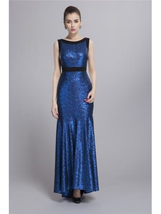 Sparkle Mermaid Sequined Long Prom Dress With Ruffle