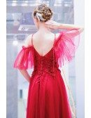 Burgundy Red Flowy Tulle Prom Dress With Spaghetti Straps