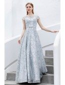 Modest Silver Sequins Aline Long Prom Dress With Cap Sleeves Sash
