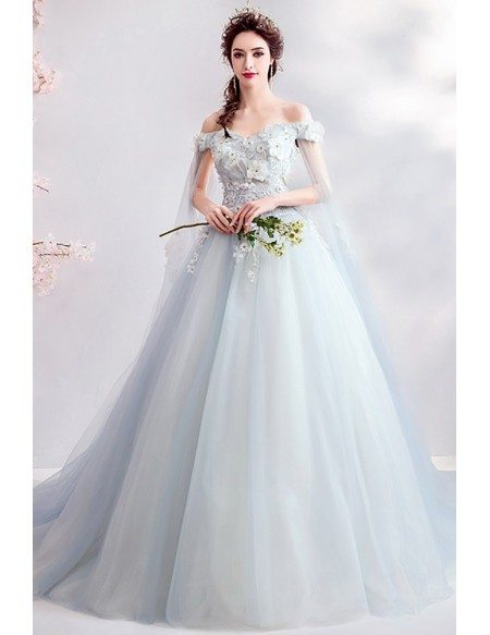 Fairy Light Blue Petals Flower Prom Dress Ballgown With Off Shoulder