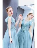 Blue Tulle Sheer Neck Party Prom Dress With Beaded Lace
