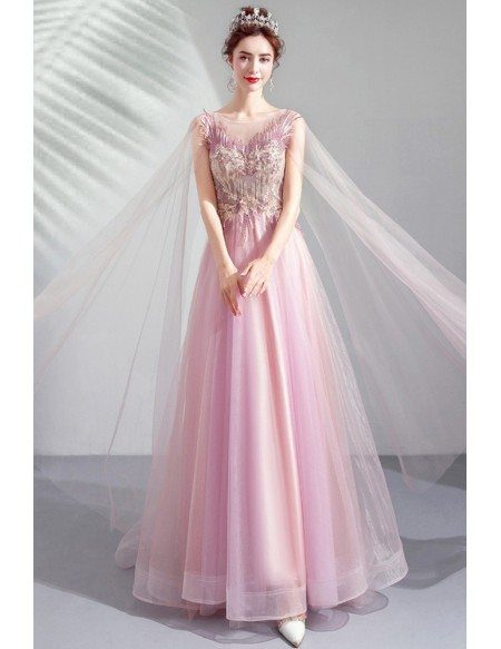 Peach Pink Tulle Aline Prom Formal Dress Sheer Neck With Flowy Cape
