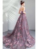 Dreamy Roses Flowers Purple Tulle Prom Dress Strapless With Train