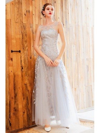 Silver Sequins Leaf Pattern Long Tulle Formal Dress With Sheer Neckline
