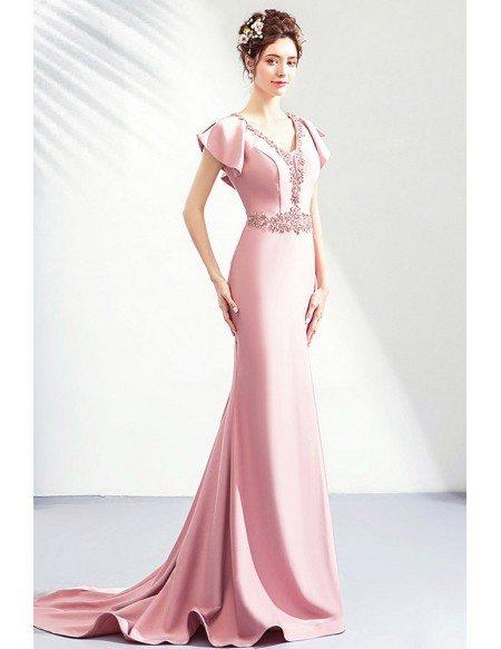 Elegant Pink Satin Mermaid Evening Dress Formal With Cape Sleeves Beadings