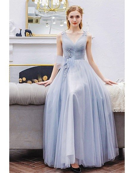 Light Grey Tulle Long Vneck Prom Dress With Pleated Top