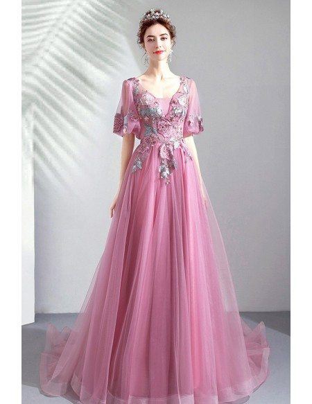 Fairy Beaded Flowers Purple Prom Dress With Puffy Sleeves Long Train
