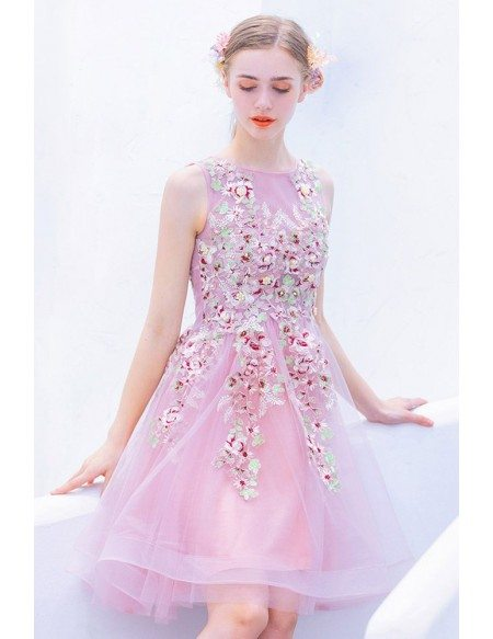 Cute Pink Beaded Flowers Short Tulle Prom Hoco Dress Sleeveless