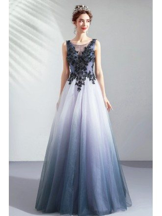 Fantasy Ombre Blue Organza Long Prom Dress With Embroidery Stones