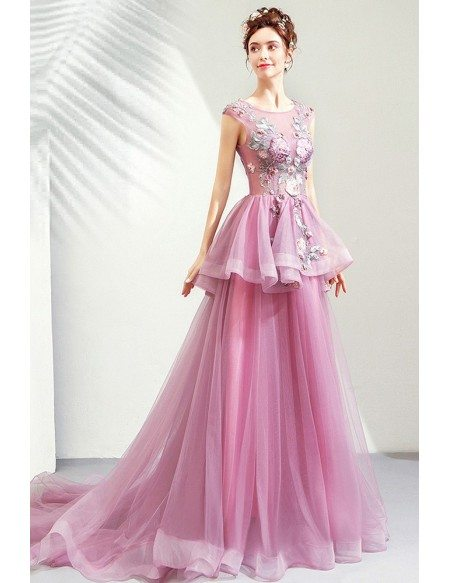 Elegant Purple Tulle Long Formal Dress Pageant Gown With Flowers