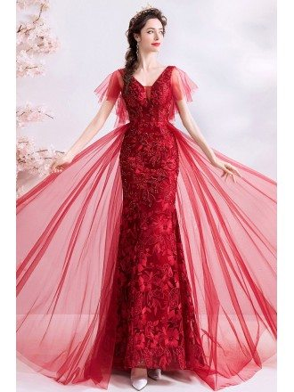 Burgundy Red Lace Mermaid Long Party Dress With Tulle Sleeves