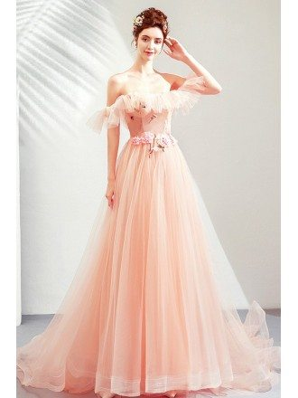 Fairy Pink Tulle Off Shoulder Cute Prom Dress Long With Train