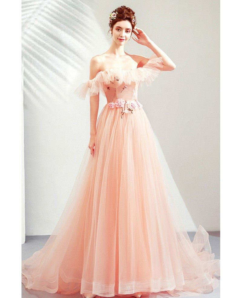 Fairy Pink Tulle Off Shoulder Cute Prom Dress Long With Train Wholesale T79011 Gemgrace Com