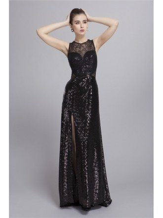 Gorgeous Sequined  Lace Sweep Train Evening Dress With Front Split