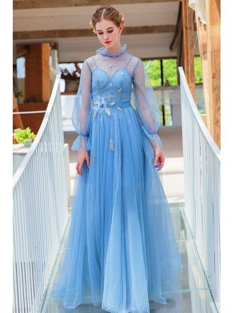Fairy Blue Long Bubble Sleeve Prom Dress With Illusion Neckline