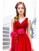Big Bow Front Vneck Long Red Party Dress Sleeveless