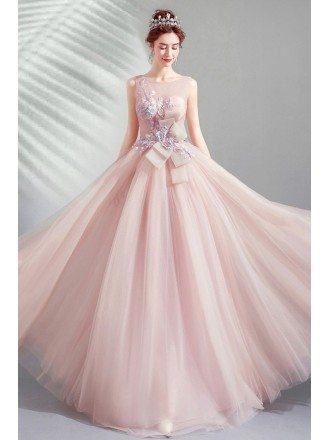 Fairytale Nude Pink Flowy Long Prom Dress With Big Bow Flowers