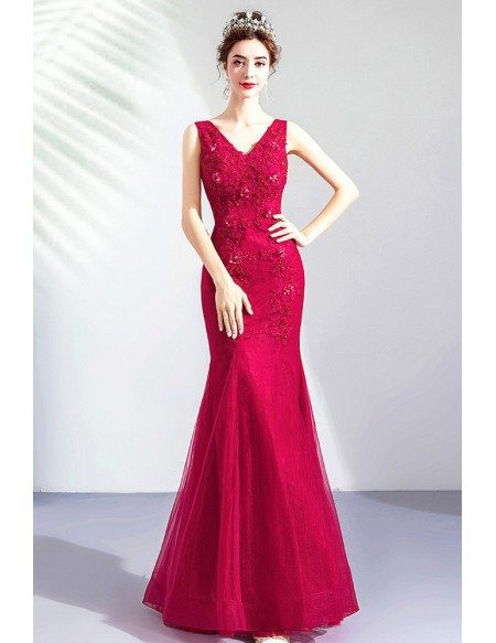 Fitted Mermaid Burgundy Lace Evening Prom Dress Vneck Sleeveless
