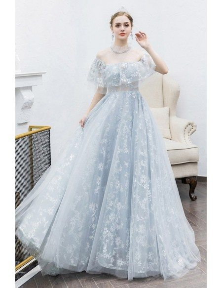 Grey Lace Aline Long Tulle Cute Prom Dress With Illusion Neckline