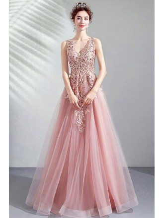 Peachy Pink Tulle Vneck Prom Dress With Beaded Embroidery Sleeveless