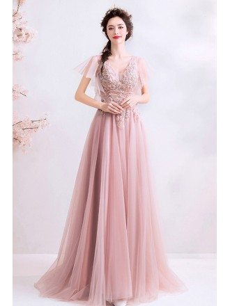 Gorgeous Pink Tulle Prom Dress Aline With Embroidery Vneck Tulle Sleeves