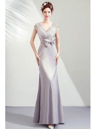 Elegant Slim Long Mermaid Evening Party Dress Vneck With Big Bow