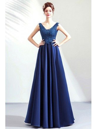 Formal Elegant Vneck Lace Blue Long Satin Evening Prom Dress Sleeveless