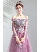 Gorgeous Purple Long Tulle Prom Party Dress With Long Sleeves Embroidery