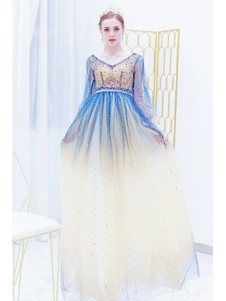 Exotic Ombre Blue Sequns Sparkly Prom Dress With Long Sheer Sleeves