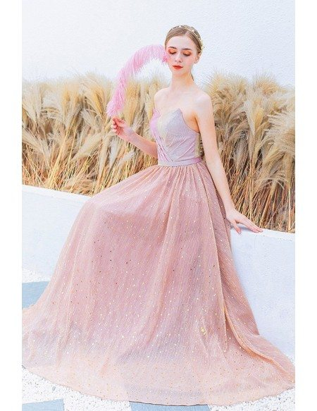 Bling Sparkly Star Cute Pink Prom Dress Strapless For Parties
