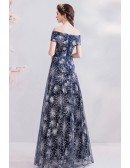 Shining Silver Sequins Blue Long Prom Dress With Off Shoulder Sash