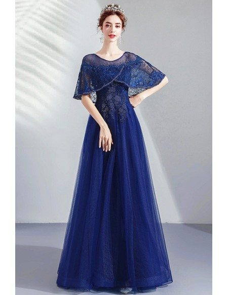 Navy Blue Tulle Aline Formal Dress With Beading Cape Sleeves