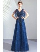 Navy Blue Lace Aline Beaded Prom Dress Vneck With Puffy Sleeves