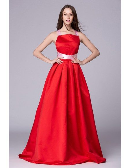 Chic Ball-Gown Halter Polyster Floor-Length Eveing Dress