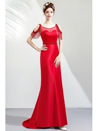 Elegant Red Satin Long Formal Dress With Beaded Waist Sweep Train
