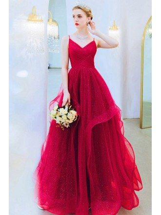 Burgundy Big Ruffles Party Prom Dress Vneck With Spaghetti Straps